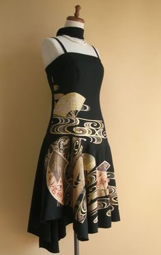 no.1242 | ショートドレス | 着物ドレス 和ドレス 着物リメイク オーダードレス -YOKO YOSHIOKA-