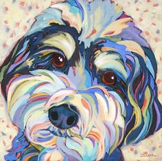 Contemporary dog portrait painting Winston, painting by artist Carolee Clark