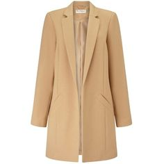Miss Selfridge Camel Duster Coat ($68) ❤ liked on Polyvore featuring outerwear, coats, camel, camel coat, miss selfridge, duster coat, miss selfridge coats and beige coat
