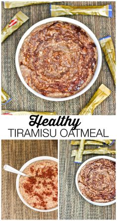 Healthy Tiramisu Oatmeal- This delicious bowl of gluten free and high protein oatmeal tastes EXACTLY like the infamous Italian Dessert Tiramisu- without the added sugars, fats and cream! {vegan + gluten free option available! Healthy Breakfast Recipes, Healthy Snacks, Healthy Eating, Dinner Healthy, Protein Oatmeal, Overnight Oats, Vegan Recipes, Cooking Recipes, Oatmeal Recipes