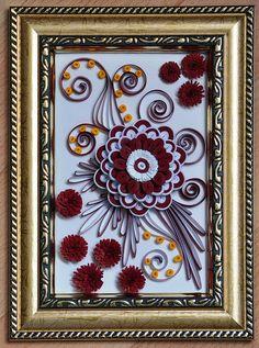 quilling,  квиллинг, цветы, квиллинг в бордовых тонах( мои работы) панно flowers