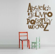For something different, but very striking, we've created the Gigi Alphabet - a stunning collection of wooden letters that spans a huge 2.5m x 1.5m area of wall.   Each letter is hand-crafted from bamboo right here in Australia. There are several different sizes, and fonts used to create a stunning contrast and unique finish for your wall.   The full set of 27 characters come in raw finish for a contemporary and eco friendly look.   Attach to wall with 3M Command Picture Hanging Strips.