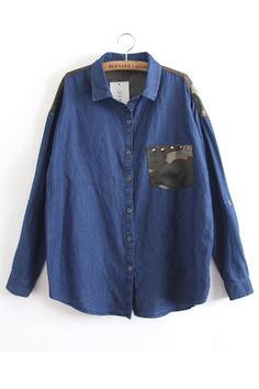 Denim Shirt with Camouflage Pocket and Shoulder