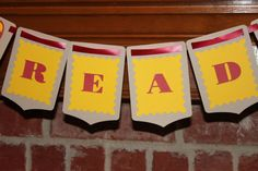 Read banner with Red and Yellow Rockets by YellowFoxDesign on Etsy, $10.00 Reading Corners, Rockets, Drink Sleeves, Banner, Yellow, Unique Jewelry, Handmade Gifts, Red, Vintage