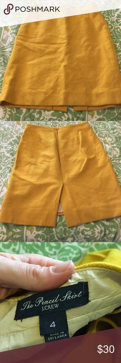 J Crew Marigold Wool Pencil Skirt This was never worn! In excellent condition, just needs to be ironed. Feel free to make me an offer! J. Crew Skirts Pencil