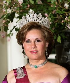 Grand Duchess Maria Teresa of Luxembourg wearing the luxembourg empire tiara , with Diamond Epaulette Brooch and a diamond annd emerald choker/bracelet