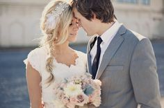 Love this bride's crystal headband from @Etsy & messy braid! Romantic, Dreamy Bridal Shoot