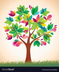 1bf84eec1fc6 Beautiful colorful tree vector image on VectorStock