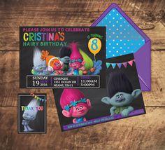 TROLLS MOVIE INVITATION + free Thank You Tags, chalkboard modern invitation, trolls birthday party, trolls black invite trolls birthday by TRUSTITI on Etsy