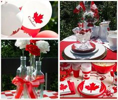 Ideas for hosting Canada Day including decorating tips, fun activities and useful information for all your planning needs. Canada Day Party, Canada Day 150, Happy Canada Day, Canada Celebrations, Canadian Party, Canada Holiday, Simple Centerpieces, Flag Decor, Party Themes