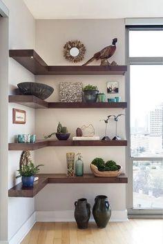 living room shelf storage ideas shelf decor living – My World Ladder Shelf Decor, Floating Shelf Decor, Floating Corner Shelves, Floating Living Room Shelves, Wooden Floating Shelves, Ladder Shelves, Floating Bookshelves, Books Decor, Decor Room