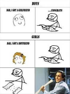 Boys vs girls, funny rage comic. Too true. Though dads should protect their sons equally as much as their daughters. lol XD