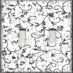 Light Switch Plate Cover - Black And White - Swirling French Floral Home Decor