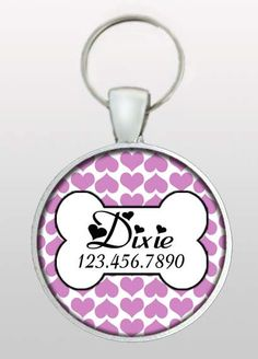 Pet ID Tag - Dog ID Tag - Purple Dog Tag - Girly Dog Tag - Purple Hearts - Valentine for Dogs - Gifts Under 10 -  Design No. 295