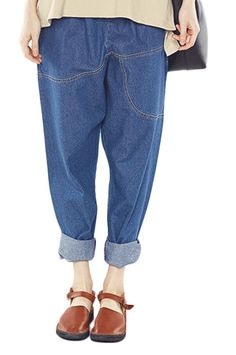 Soojun Women's Washed Elastic Waist Ripped Harem Cropped Jeans >>> Find out more about the great product at the image link.