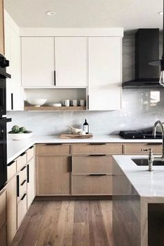 60 Contemporary Wooden Kitchen Cabinets For Home Inspiration. Choosing the perfect wooden kitchen cabinets for your home is not as simple as it might appear. While the choices are limited, the cupboar. Home Decor Kitchen, Diy Kitchen, Home Kitchens, Kitchen Modern, Kitchen Ideas, Rustic Kitchen, Modern Farmhouse, Modern Kitchen Interiors, Farmhouse Sinks
