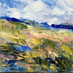 """SPRING MEADOW"" Original Oil Knife Landscape by US Artist KEVIN CROSS."