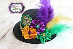 Mardi Gras Fat Tuesday Mini Top Hat Fascinator by ShopPMD on Etsy, $20.00
