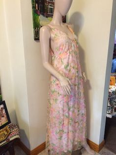 Vintage 60s Deep V Double Layer Chiffon by VansVintageTreasures