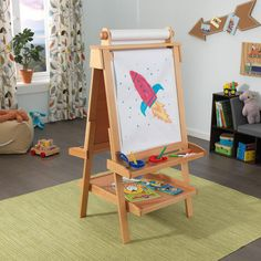 Kidkraft Deluxe Wood Easel W Paper Roll Natural Painted Cups School Furniture