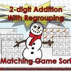2-digit Addition With Regrouping Matching Game Sort - Winter Snowman  Let's make math fun! This math game is designed to help students practice add...