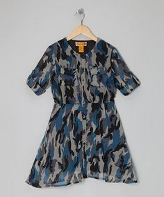 Another great find on #zulily! Blue Camo Button-Tab Shirt Dress - Girls by She's Cool #zulilyfinds