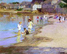 Enfants jouant sur la plage, huile sur toile de Edward Henry Potthast (1879-1881, United States)