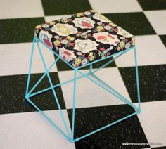 Easy DIY Vintage Bark Cloth Covered Stool | My So Called Crafty Life