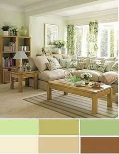 The best color combinations for your living room is one that fits the atmosphere you want to create. Find a fresh look with these living room color schemes. Living Room Color Combination, Living Room Color Schemes, Paint Colors For Living Room, Bedroom Colors, Living Room Designs, Living Room Green, Home Living Room, Living Room Decor, Bedroom Decor