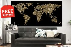 Giant black world map for wall decor.Hightly detailed geographic World map. XXL stretched canvas world map set. Colorful large camvas poster by CanvasPrintingShop, $49.00 USD