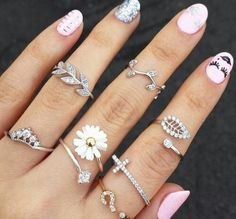 Rings Ne Fashion Ring Set Simple Leaf Midi Knuckle Top Of Finger Rings Xmas Gift Bling Bling, Top Punk, Nail Accessories, Fashion Accessories, Women Accessories, Hippie Mode, Fashion Rings, Fashion Jewelry, Nail Jewels