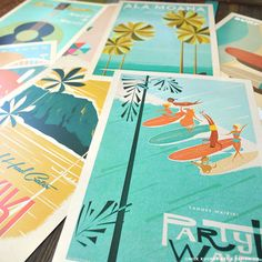 THE PICK 3 - Retro Hawaii Travel Prints & Vintage Hawaii Travel Prints from artist Nick Kuchar. Can't decide which retro Hawaii print series you'd like? Pick 3 of your favorite vintage Hawaii prints! Hawaii Surf, Hawaii Travel, Mexico Travel, Spain Travel, Vintage Hawaiian Shirts, Vintage Surf, Surf Art, Philippines Travel, Vintage Travel Posters