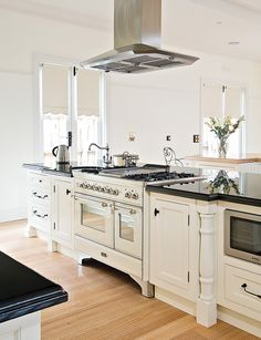 This Ornate French Provincial kitchen designed by Steding Interiors & Joinery is the perfect combination of light and space. A White double oven ILVE Majestic is featured in this beautiful design!