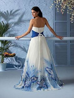Beautiful A Line Printed Royal Blue And White Wedding Dresses