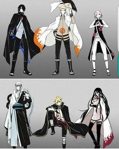 Team 7, Sasuke, Sakura, Naruto, Mitsuki, Boruto, Sarada, cool, outfits; Naruto