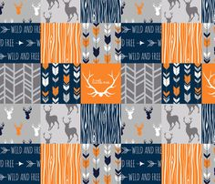 Patchwork Deer in orange,navy, grey- Wholecloth cheater quilt - baby boy nursery - broncos fabric by sugarpinedesign on Spoonflower - custom fabric