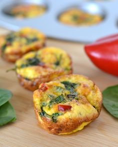 Spinach and Red Pepper Mini Frittatas