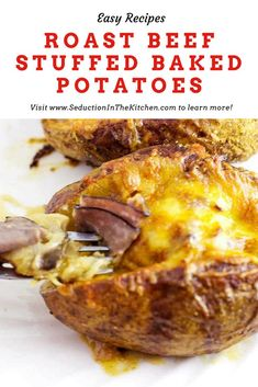 Roast Beef Stuffed Baked Potatoes is a great leftover roast beef recipe. Tender roast beef with caramelized onions is the baked potato filling. Leftover Baked Potatoes, Stuffed Baked Potatoes, Tender Roast Beef, Leftover Roast Beef, Au Jus Gravy, Baked Potato Recipes, Roast Beef Recipes, Feel Good Food, Side Dish Recipes