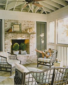 Screened porch w/ check painted wood floor; Cottage Living mag