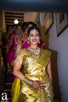 South Indian Bride - Bride in a Gold Kanjivaram Saree with Gold and Diamond Jewelry South Indian Wedding Saree, Indian Bridal Sarees, Bridal Silk Saree, Indian Bridal Outfits, South Indian Bride, Saree Wedding, Bridal Dresses, Telugu Wedding, Indian Weddings