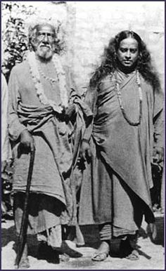 Yogananda with his guru, Sri Yuketeswar.  His mission was to bring the ancient science of Kriya yoga to the west.