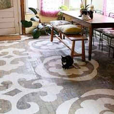 I may use this idea in my kitchen which is just the bare plywood subfloor right now. All I need is a large stencil, some paint, and a fat cat