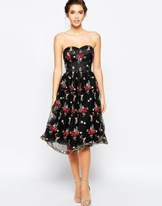 Chi Chi London Bandeau Midi Skater Dress In All Over Floral Embroidery
