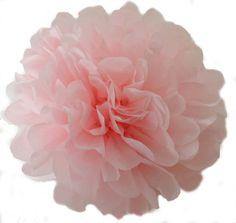 14 inch Light Pink Tissue pom pom/party poms/birthday pompoms/DIY/Baptism/baby shower/hanging poms/nursery pom pom/pompoms/party decorations on Etsy, $1.86