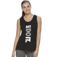 """Women's Nike Sportswear """"Just Do It"""" Racerback Tank Top, Grey (Charcoal)"""