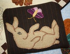 Wool Applique   Bunny Zipper Pouch by dashton4 on Etsy, $17.99
