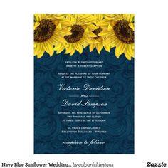 Navy Blue Sunflower Wedding Invitation.  $2.40