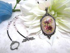 Handcrafted Rose Bouquet Rose Quartz Pendant Necklace