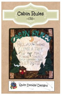 Cabin Rules Packaged Mini Quilt Pattern from Quilt Doodle Designs by quiltdoodledesigns on Etsy