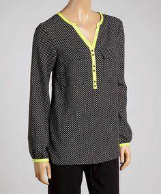 Love this Rafaella Neon Green & Black Polka Dot Button-Up Top by Rafaella on #zulily! #zulilyfinds